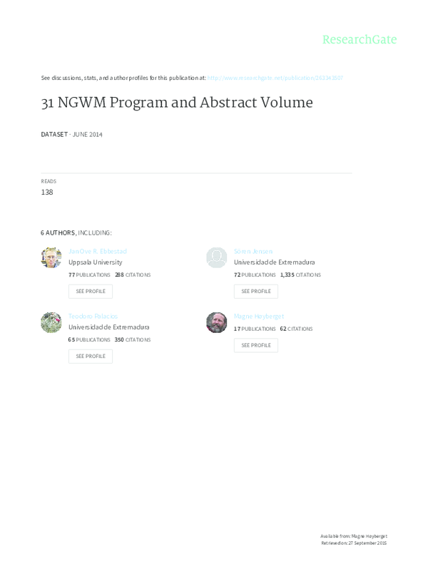 PDF) 31 NGWM Program and Abstract Volume | Anette Högström