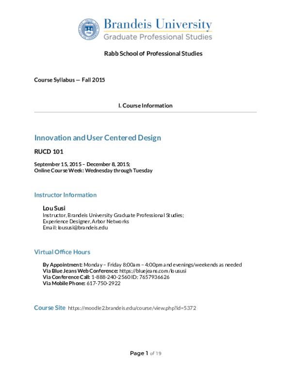 Pdf Innovation And User Centered Design Syllabus Brandeis Gps Fall 2015 Lou Susi Academia Edu