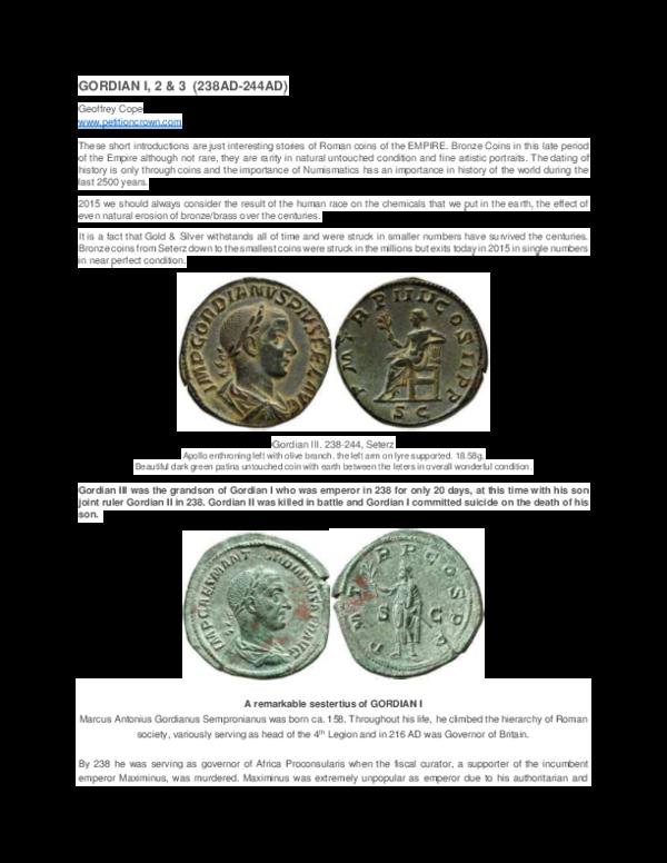 PDF) GORDIAN I, 2 & 3 (238AD-244AD) LATE ROMAN | Geoffrey