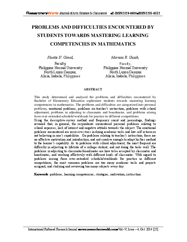 Problems And Difficulties Encountered By Students Towards Mastering