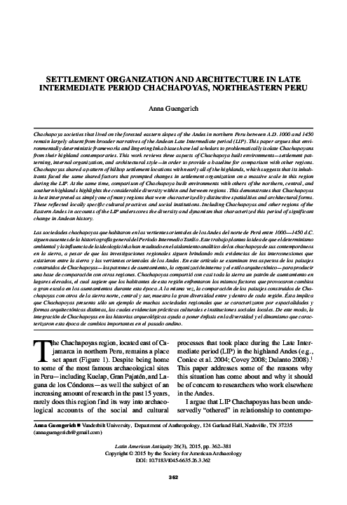 PDF) Settlement organization and architecture in Late