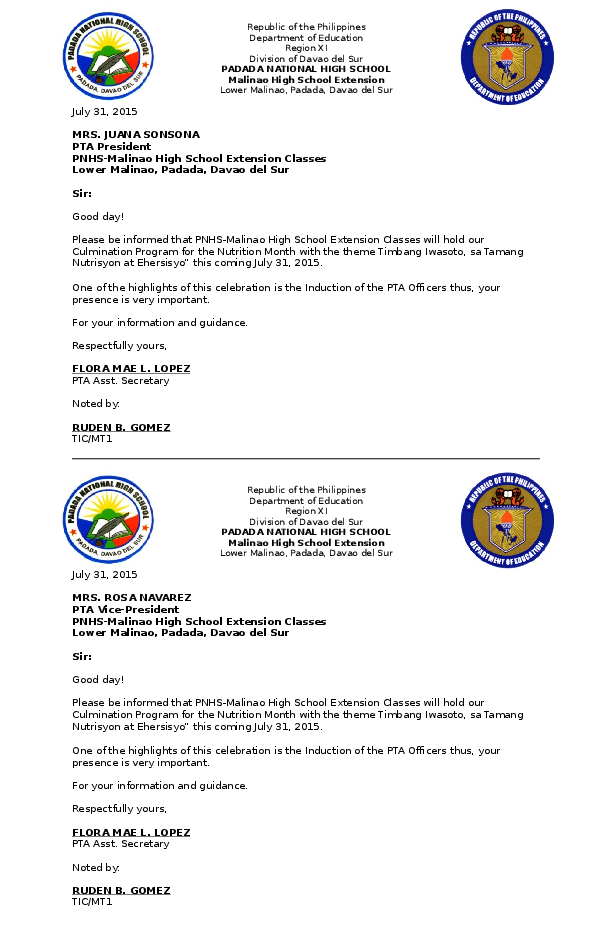 Doc Letter Of Invitation To Pta Officers Flora Mae Lopez