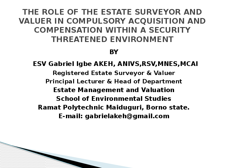 term paper on theroleofestate surveyorand valuer in property development process