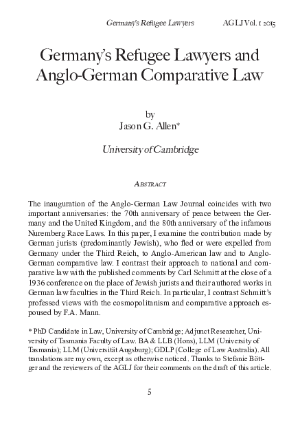 PDF) Germany's Refugee Lawyers and Anglo-German Comparative