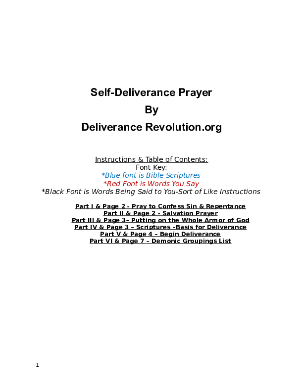 DOC) Self Deliverance Prayer Used by Pastor Nate Thompson | Pastor