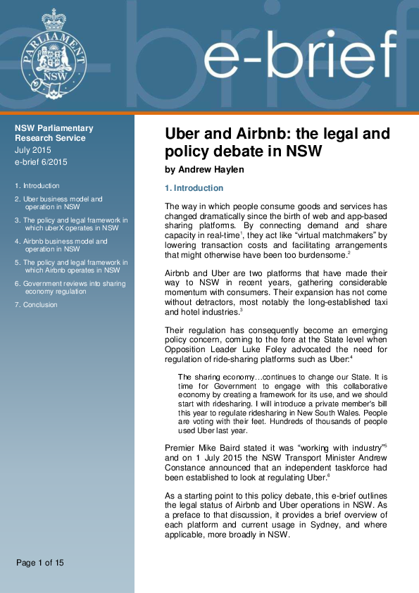 PDF) Uber and Airbnb: the legal and policy debate | Andrew