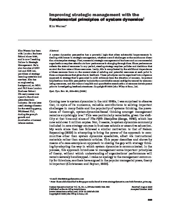 PDF) K  Warren: Improving Strategic Management with System Dynamics