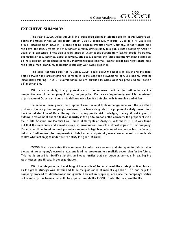 e70faa35ab8 DOC) EXECUTIVE SUMMARY A Case Analysis