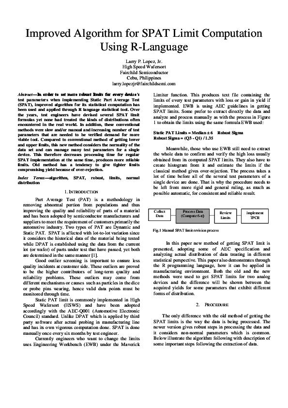 PDF) Improved Algorithm for SPAT Limit Computation Using R