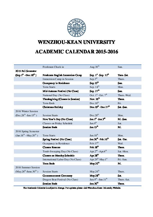 Kean University Academic Calendar.Pdf Wku Academic Calendar 2015 2016 Ningtong Jin Academia Edu