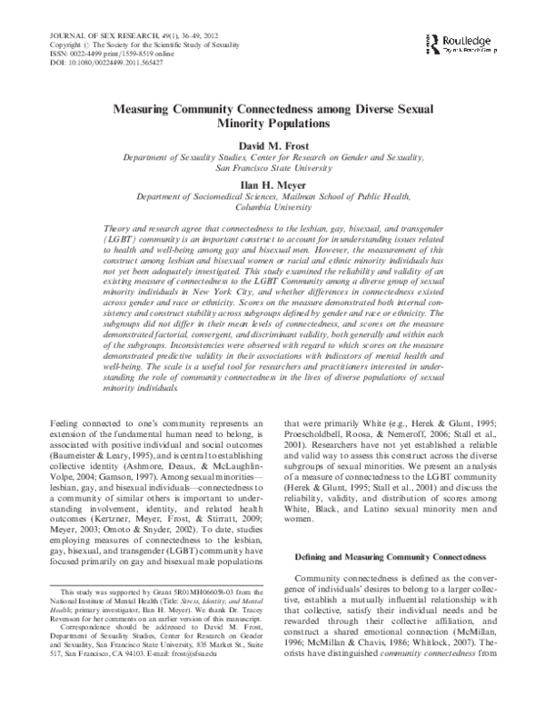 PDF) Measuring Community Connectedness among Diverse Sexual Minority