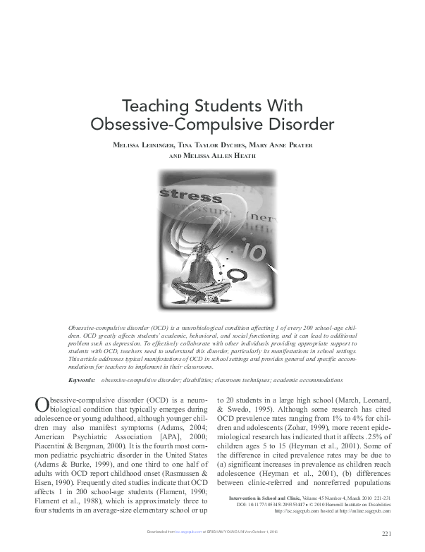 Teaching Students With Obsessive Compulsive Disorder Tina Taylor