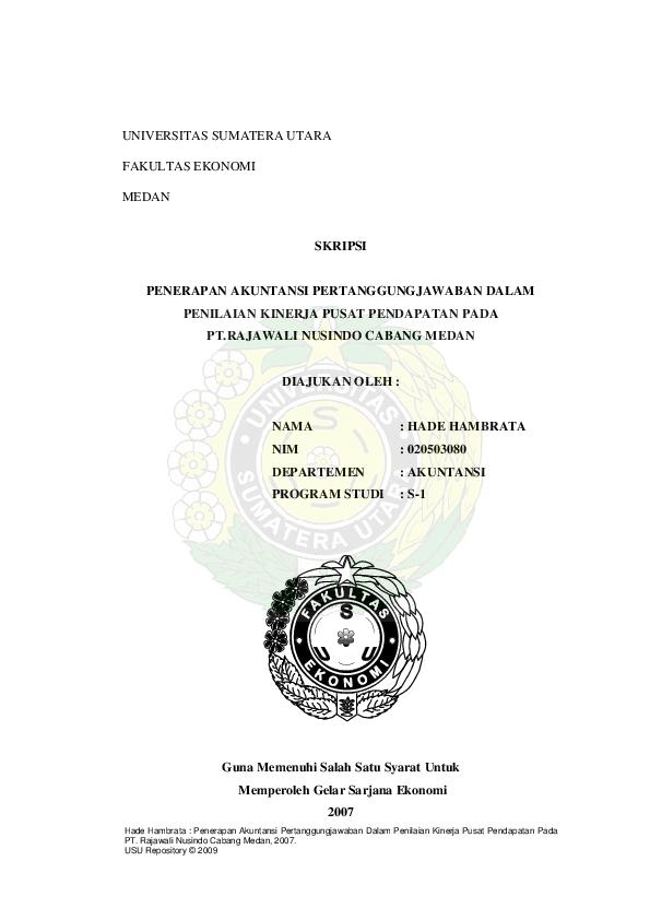 Pdf Penerapan Akuntansi Pertanggung Jawaban Dalam Pusat Pendapatan Arini Puspita Academia Edu