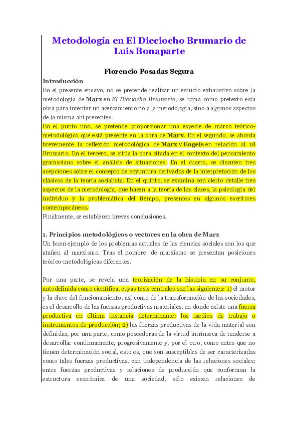 Pdf Metodología En El Dieciocho Brumario De Luis Bonaparte
