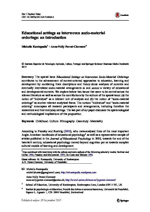 PDF) Educational settings as interwoven socio-material