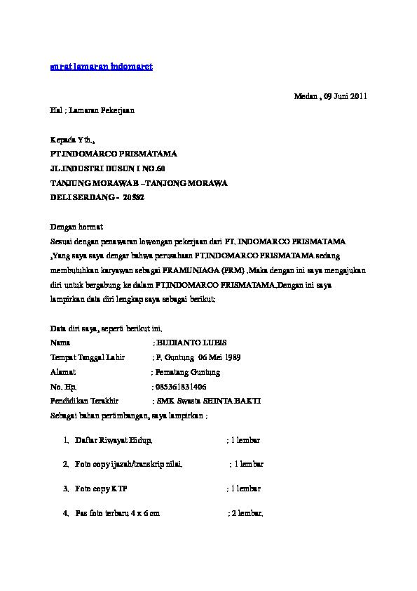 Doc Surat Lamaran Indomaret Adam Saputra Academiaedu