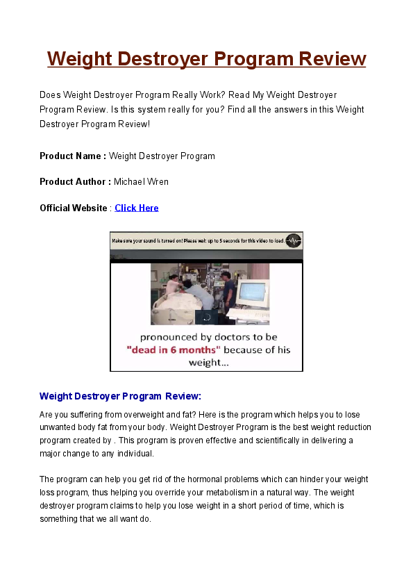 Program destroyer pdf weight the