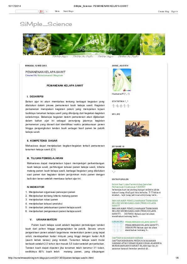 Pdf Si Mple Science Pemanenan Kelapa Sawit Sanggam Siringoringo Academia Edu