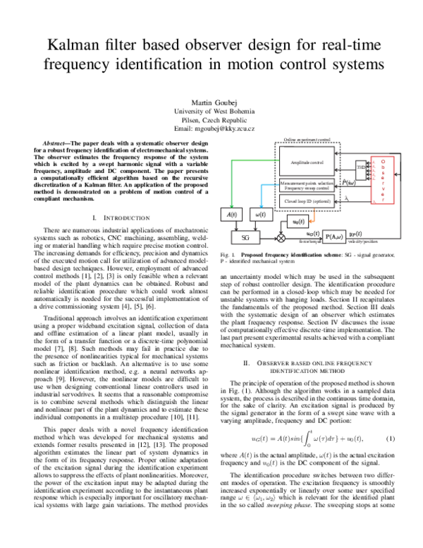 PDF) Kalman filter based observer design for real-time frequency