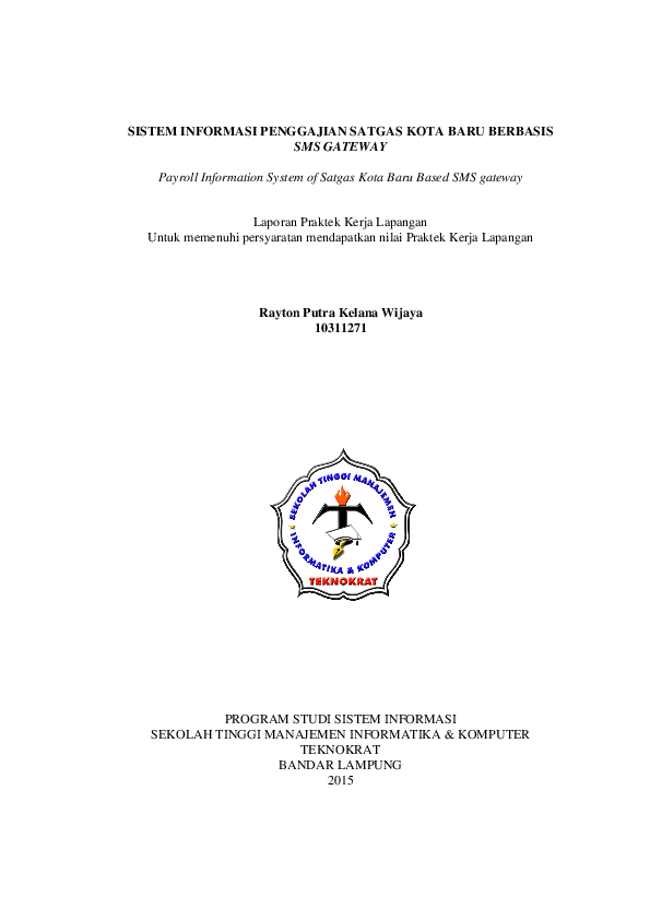 Pdf Sistem Informasi Penggajian Satgas Kota Baru Lampung Berbasis Web Rayton Putra Academia Edu