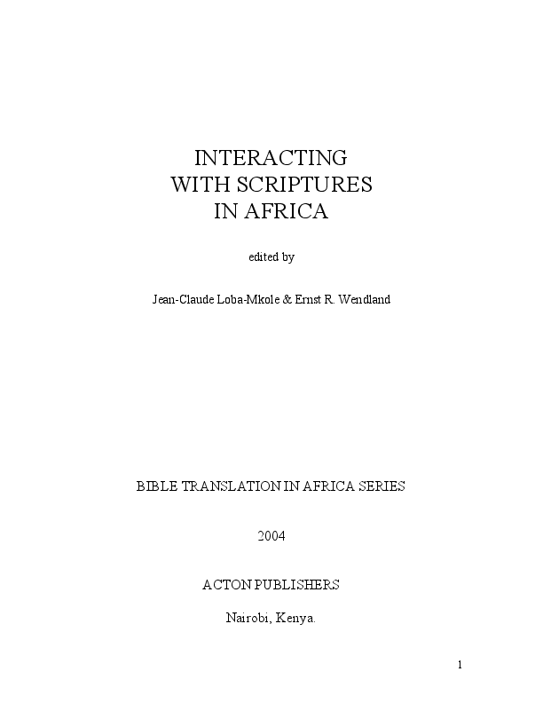 Interacting With Scriptures In Africa Ernst Wendland Academiaedu
