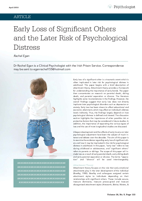 PDF) Early Loss of significant others and the later risk of