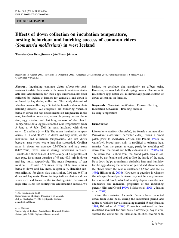 PDF) Effects of down collection on incubation temperature