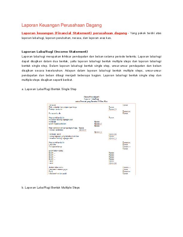 Doc Laporan Keuangan Perusahaan Dagang Fran Sisca Academia Edu