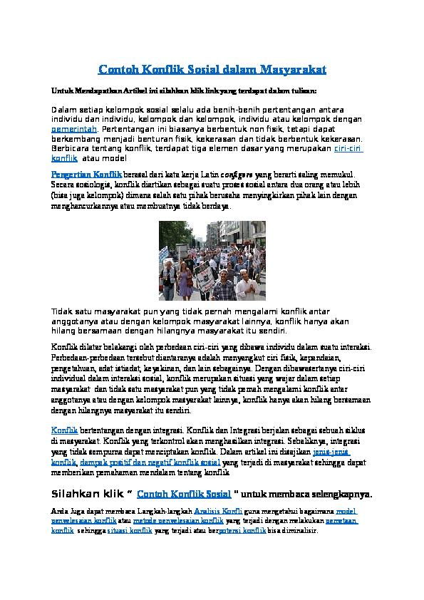 Doc Contoh Konflik Sosial Beserta Solusi Penanganannya Demokrasi Style Academia Edu