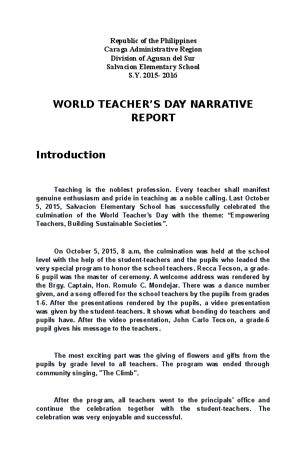 introduction for a narrative report