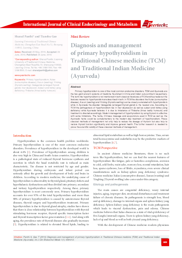 PDF) Diagnosis and management of primary hypothyroidism in