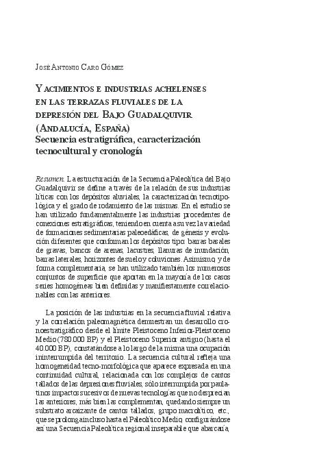 Pdf Yacimientos E Industrias Achelenses En Las Terrazas