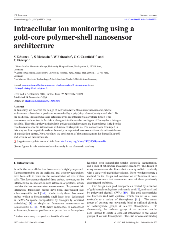 PDF) Intracellular ion monitoring using a gold-core polymer