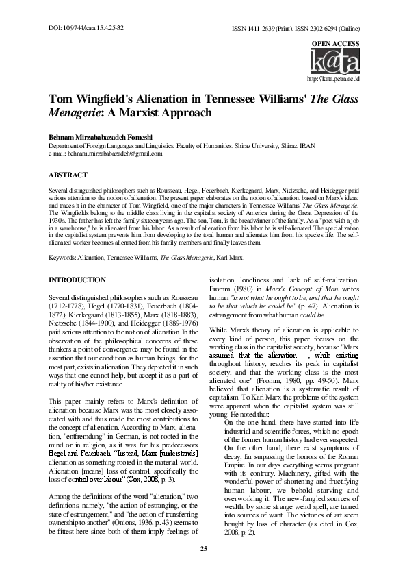 tennessee williams glass menagerie research paper