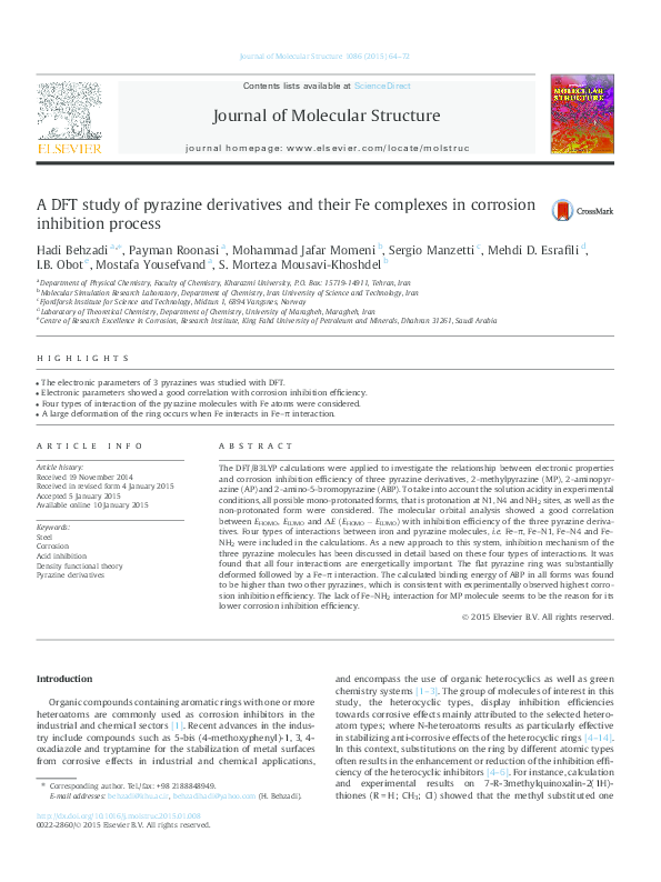 Pdf A Dft Study Of Pyrazine Derivatives And Their Fe Complexes In