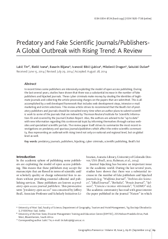 PDF) Predatory and Fake Scientific Journals/Publishers- A