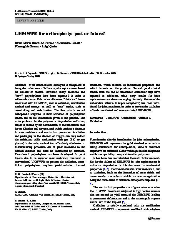 PDF) UHMWPE for arthroplasty: Past or future? | Alessandro