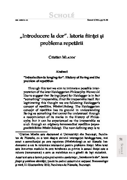 """PDF) """"Introducere la dor""""  Istoria ființei şi problema"""