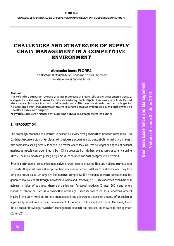 PDF) CHALLENGES AND STRATEGIES OF SUPPLY CHAIN MANAGEMENT IN