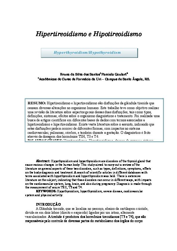 hipotireoidismo e hipertireoidismo hormônios