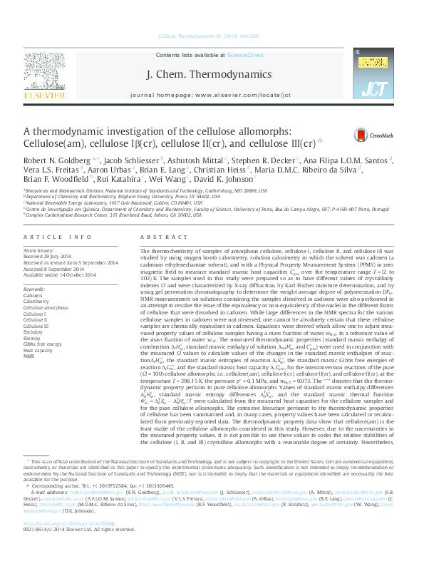 PDF) A thermodynamic investigation of the cellulose