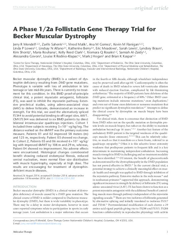 PDF) A Phase I/IIa Follistatin Gene Therapy Trial for Becker