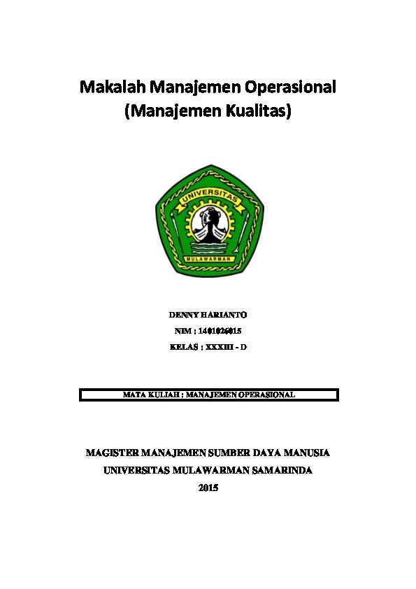 Pdf Makalah Manajemen Operasional Pdf Denny Dyvac Academia Edu
