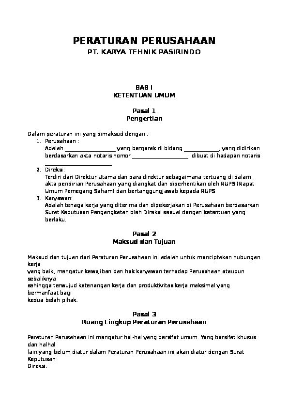 Doc Contoh Format Peraturan Perusahaan Rico Zeein