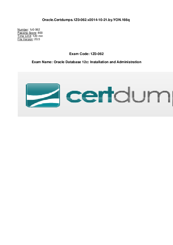 PDF) Oracle Certdumps 1z0 062 vv2014 10 21 by YON 166q | Suka Mada
