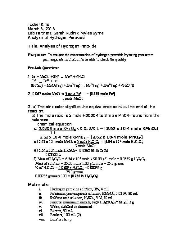 DOC) Analysis of Hydrogen Peroxide | Tucker Kino - Academia edu
