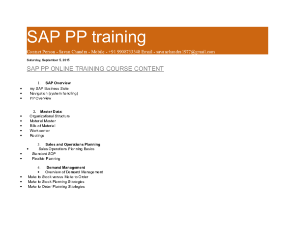 DOC) SAP in production planning AND CONTROL & MATERIAL