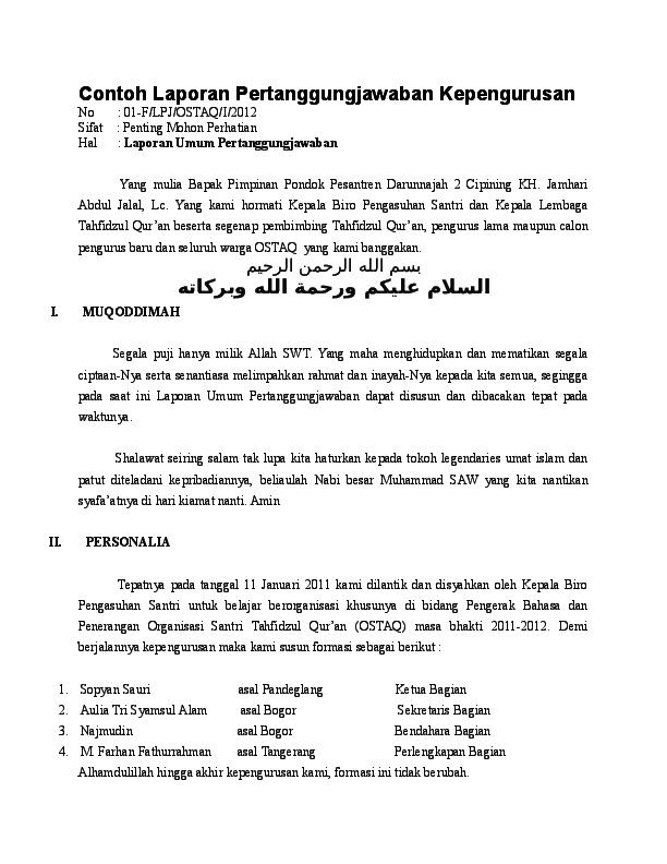 Doc Contoh Laporan Pertanggungjawaban Kepengurusan Era Oliviya Academia Edu