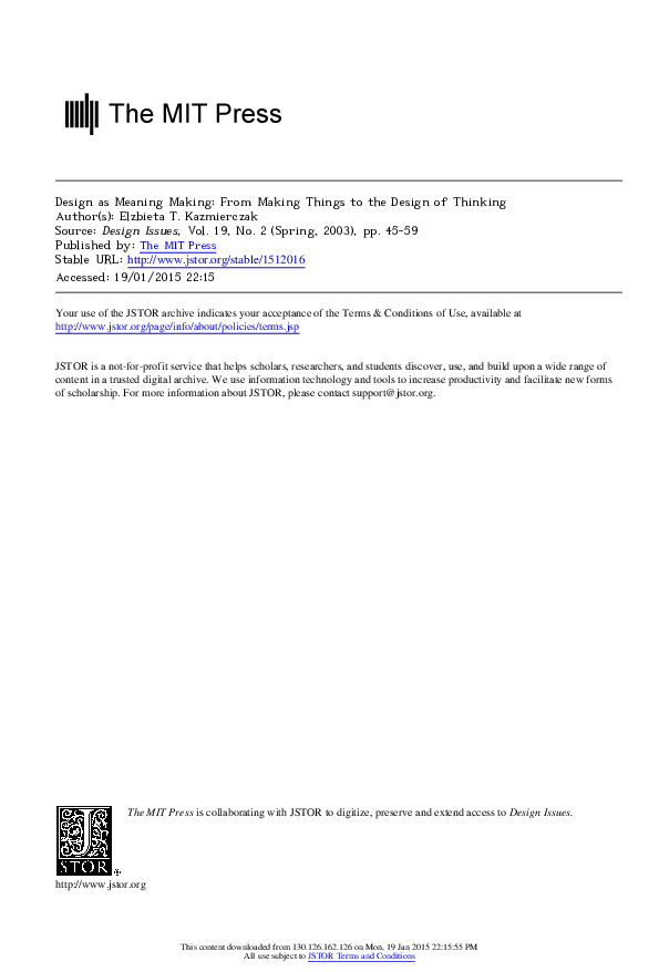 PDF) Design as Meaning Making: From Making Things to the Design of
