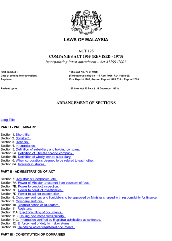 Pdf Companies Act 1965 Aleeya Rose Academia Edu